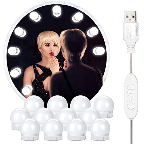 LED Spiegelleuchte für Schminktisch Beleuchtung, EWEIMA 12 LED/19.7FT Hollywood Stil Dimmbar Schminklicht Spiegellampe mit 3 Farbmodi und 10 Helligkeiten, Spiegel Lichter mit USB für Kosmetikspiegel