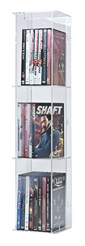 SORA Torretta espositiva Porta Dvd in Acrilico con Pannello Posteriore Trasparente