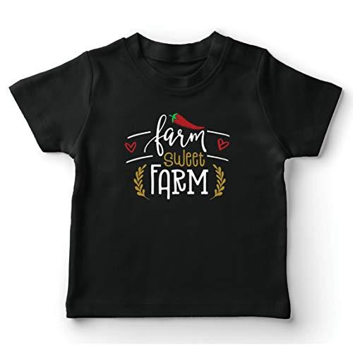 lepni.me Maglietta per Bambini/Ragazzi Fattoria Sweet Farm Eco Natura (3-4 Years Nero Multicolore)