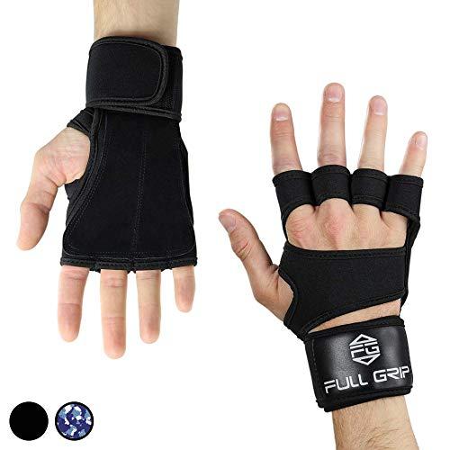 FULL GRIP 2- in 1 Fitness Handschuhe/Trainingshandschuhe mit integrierter Handgelenksbandage/Handgelenksstütze für das Fitnesstudio/Gym (Schwarz, XL)