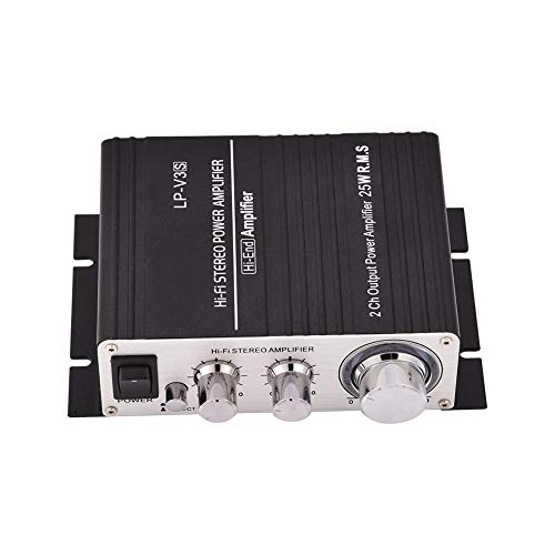 Hakeeta audio-versterker, mini, 2-kanaals stereo, met uitgangsaansluitclips voor luidsprekers, draagbaar, anti-interferentie, voor mobiele computers, MP3 etc, 3,5 mm, hoge geluidskwaliteit zwart