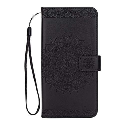 Galaxy S9 Plus Hülle, SONWO Premium Prägung Mandala PU Lederhülle Flip Brieftasche Hülle Cover Schale Ständer Etui Wallet Tasche Case Schutzhülle für Samsung Galaxy S9 Plus, Schwarz