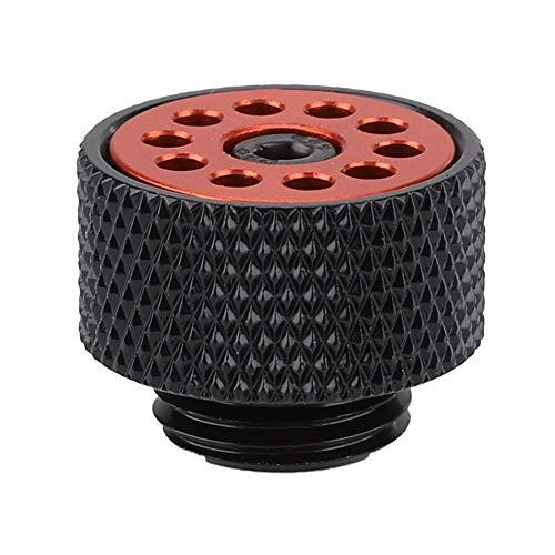 Válvula de Aire PC Sistema de refrigeración por Agua Válvula de Escape automática Computadora Válvula de ventilación de Aire Ajustable refrigerada por Agua(Negro + Rojo)