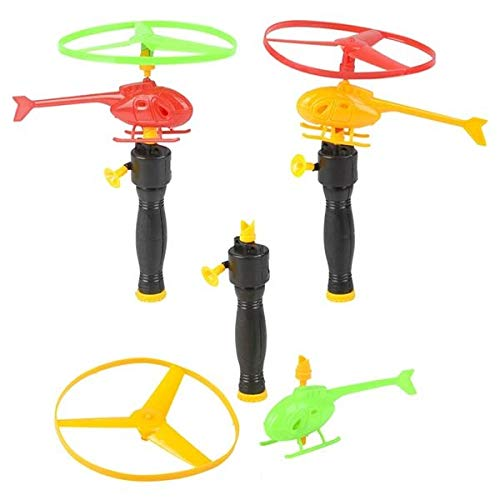 12 Pack- Rip Cord Flying Helicopter Set for Kids, Fun Fly Toys for Indoors or Outdoors, Great Birthday Party Favors, Goodie Bag Fillers, Gift Idea for Boys and Girls