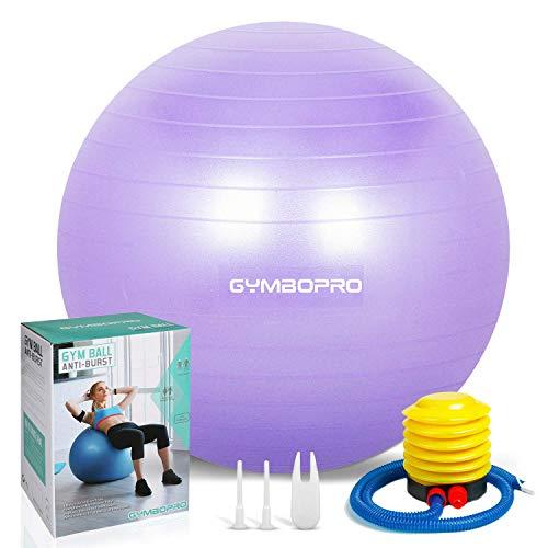 GYMBOPRO Fitness Pelota de Ejercicio - Bola Suiza con Bomba de Inflado ,Bola de yoga antirrebote y antideslizante Bola de equilibrio para gimnasio Pilates Gimnasio de yoga (75 cm, Púrpura)