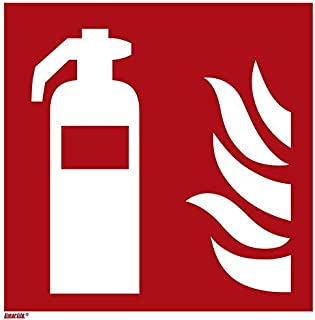 Fire Extinguisher Sticker, photoluminescent 6 x 6 inches fire Protection Sign, ISO 7010 [F001], Pack of 1