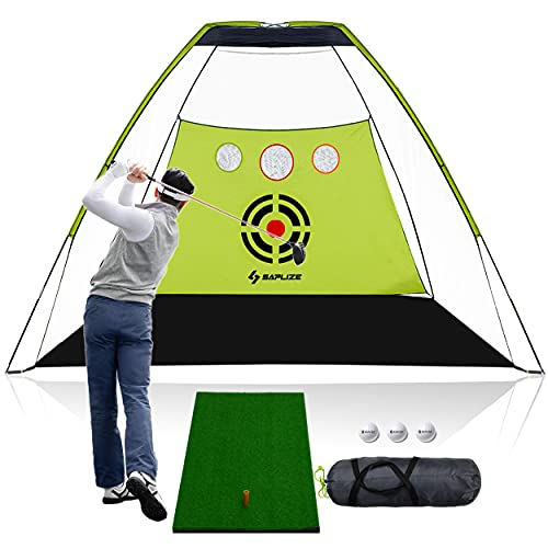 SAPLIZE Golf Net with Hitting Mat, Chipping Holes, Enhanced Net