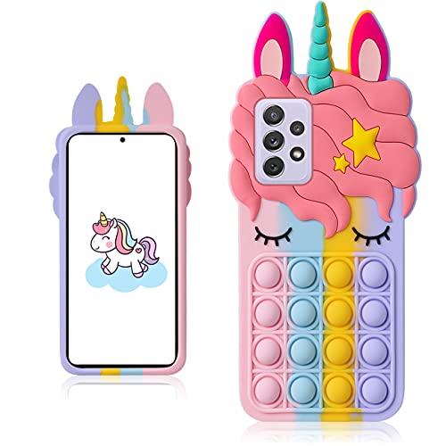 Coralogo Color Unicorn Case for Samsung Galaxy A52 Cartoon Funny Kawaii Cute Silicone Fun Cover Stylish Fashion Unique Design Fidget Aesthetic for Girls Boys Kids Cases(for Samsung Galaxy A52)