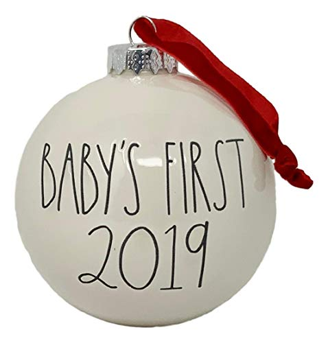RAE DUNN BY MAGENTA Baby's First Christmas 2019 Christmas Tree Ornament – Red or Black Writing