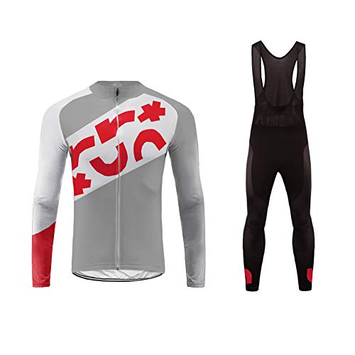 Uglyfrog Hombres Ropa de Ciclismo Bicicleta Conjunto Traje de Ropa Deportiva Jersey de Manga Larga + Pantalones Respirable Secado Rápido Primaver