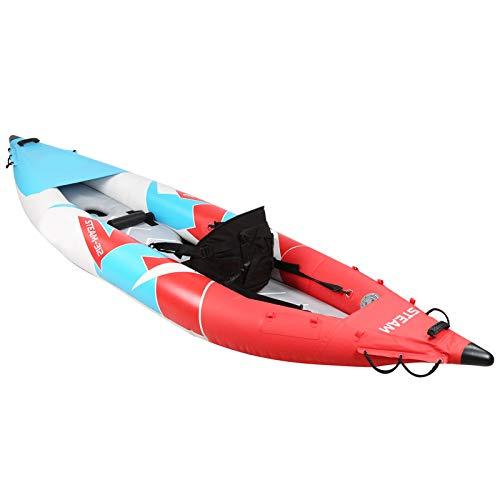 Kayak inflable, en forma de V, 1 persona, juego de kayak inflable, pesca, bote de remo con aire, a la deriva, canoa para surf, con asiento de respaldo alto extraíble con múltiples bolsillos, reposapié