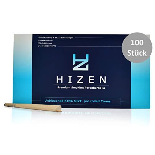 HIZEN 100 konische vorgedrehte Joint Cones mit Tip, King Size Joint Hülsen, ungebleicht (109 mm)