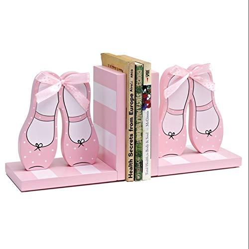 FEANG Sujetalibros Pink Dance Shoes Sookends Hecho a Mano Bookend Admite Wood Wood Termina para estantes Inicio Oficina Estante de Libros Creativo Soporte Libros