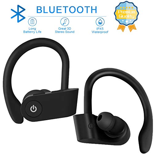 Bluetooth 5.0 Headphones, Retractable Earbuds Wireless Headset Noise Canceling Stereo Neckband Sports Earphones with Mic for iPhone/Samsung/Android by LINYY [2020 Upgraded, 20h Playtime] (Orange)