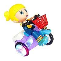 Hellery LEDライトミュージック360回転スタントカー付き電子三輪車玩具 - 女の子
