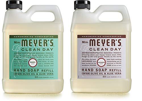 Mrs. Meyer's Liquid Hand Soap Refill Variety Pack, 1 Basil, 1 Lavender, 2 CT