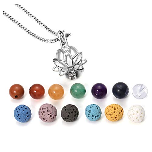 Jovivi Aromatherapy Essential Oil Diffuser Necklace Locket Pendant + 6 Dyed Lava Stone Beads + 7 Chakra Healing Crystals w/Gift Box