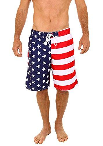 UZZI Herren Badehose mit USA-Flagge, Größe XXL
