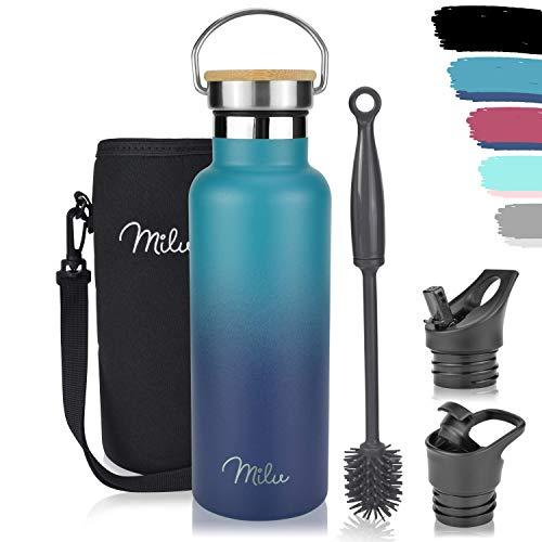 Milu Edelstahl Trinkflasche 500ml, 750ml, 1000ml (+3 Deckel) - Thermosflasche mit Strohhalm, Isolierte Wasserflasche, Auslaufsichere Isolierflasche doppelwandig, Kohlensäure geeignet (Grün Blau, 0,5L)