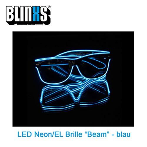 BLINXS EL-Wire/LED Neon-Brille / Leuchtbrille / Partybrille Beam leuchtet BZW. blinkt in Blau für Party, Konzerte und Club - mit austauschbaren Batterien