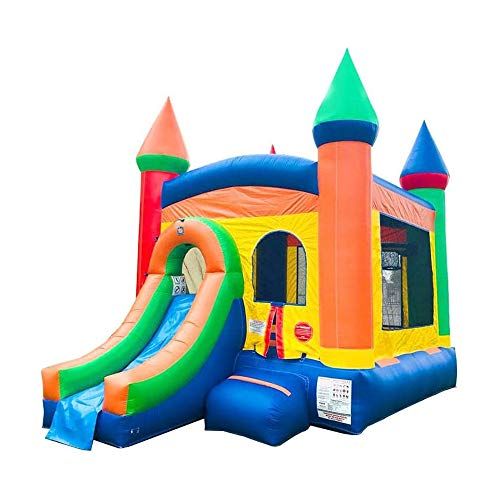 Inflatable Bounce House and Wet / Dry Slide - 12' Foot x 12' Foot Bouncy Area - Crossover Rainbow Castle Combo - Includes: Blower, Stakes, Repair Kit, and Storage Bag