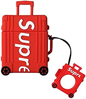 BlossomingLove Compatible with AirPods Case Keychain Full Protective Premium PVC Soft Rubber Silicone Cover Fashion Dope Self-Design Luggage Suitcase Skin for AirPods Charging Case (Red)