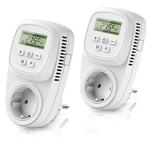 CSL - 2x Thermostat digital - Steckdosenthermostat - Steckdosen Thermostat für Heizgeräte Infrarotheizungen - Frostwächter Backup Batterie - energieeffizient 0,3W
