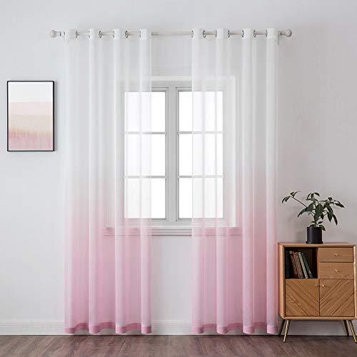 MIULEE Sheer Vorhang Voile Farbverlauf Dekoschal Vorhänge mit Ösen transparent Gardine 2 Stücke Ösenvorhang Gaze paarig Fensterschal für Wohnzimmer 145 cm x 140 cm(H x B) 2er-Set Rosa