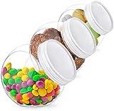 KOOMTOOM Tarro de galletas, tarros de almacenamiento con tapas, tarros de almacenamiento de plástico para contador de cocina, juego de 3 pcs, 43 onzas