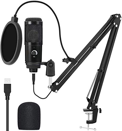 USB Microphone Kit, Professional 192KHZ/24Bit Studio Cardioid Mic Podcast Condenser Microphone with Professional Sound Chipset for PC Karaoke Skype Youtuber Gaming Recording