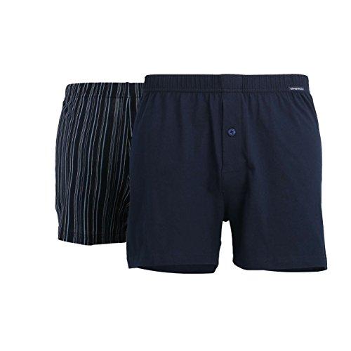Götzburg Herren Boxershort, Unterhose, Shorts - Unterwäsche - Baumwolle, Single Jersey, Navy, gestreift mit Eingriff, 2er Pack 6