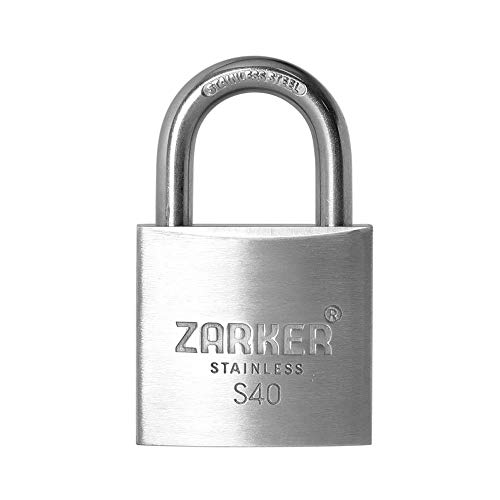 [ZARKER S40] Stainless Steel Lock - Rust Preventative, keyed Padlock, Container storages, Outdoor Warehouses, Vehicles Outside, or etc, Suitable for Places Have Bad Condition of Weather- 1 Pack