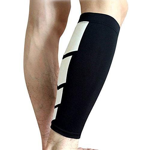 Calcetines de compresión para pantorrilla, transpirables, para correr, ciclismo, baloncesto, crossfit, para hombres y mujeres, color negro, talla M