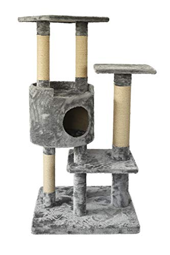 AmazonBasics Medium Cat Tree Tower with Cave And Scratching Post  Grey