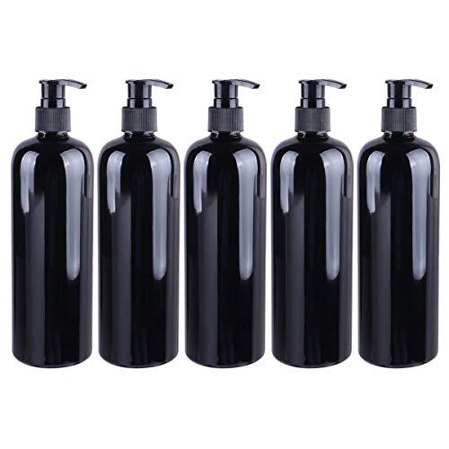 Minkissy - Dispensador de jabón vacío, 5 unidades, botella de plástico de 500 ml, botellas de cosméticos recargables, botellas de viaje, recipiente de viaje para salón, champú, loción, cosméticos