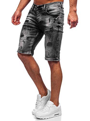 BOLF Hombre Pantalón Corto Vaquero Pantalones Vaqueros Denim Shorts Pantalón de Algodón Sombreado Estilo Diario RWX 3013 Negro XL [7G7]