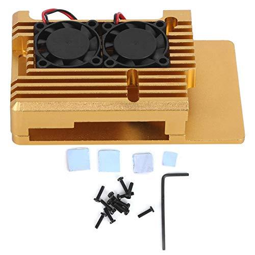 Caja de protección para el modelo Raspberry Pi 3, caja de disipación de calor de aleación de aluminio 2b / 3b con ventilador de refrigeración doble