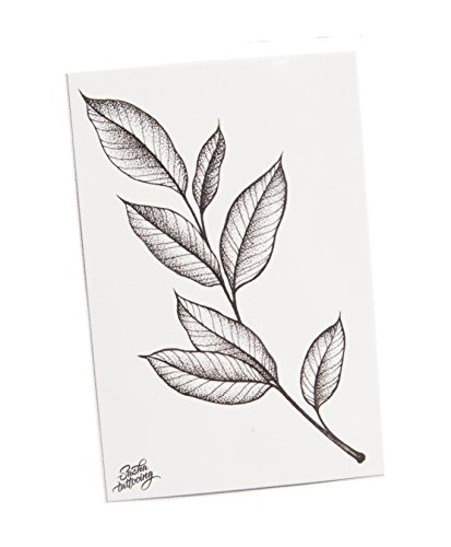 TattooYou Branch Temporary Tattoo - Finest Quality Grayscale Temporary Branch Tattoo - Hand Drawn Design by Sasha Masiuk - 3 by 4.5 Inches