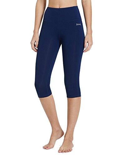 BALEAF Women's 16 Inches High Waisted Yoga Capri Leggings Power Flex Workout Pants Inner Pocketed Navy Blue Size S