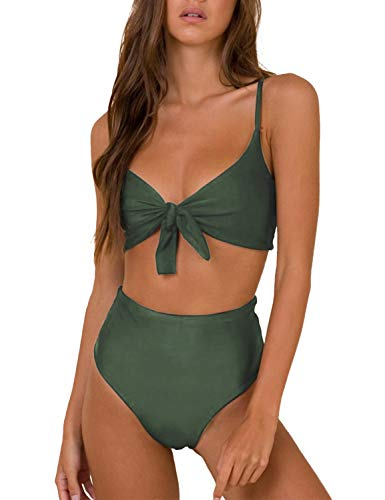 Blooming Jelly Womens High Waisted Bikini Set Tie Knot High Rise Two Piece Swimsuits Bathing Suits (Medium, Army Green)