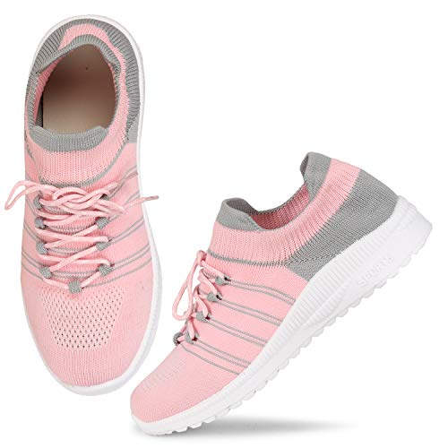 FASHIMO Running Walking Sports and Gym Shoes for Women's and Girls Light Pink sportR03-pink-39