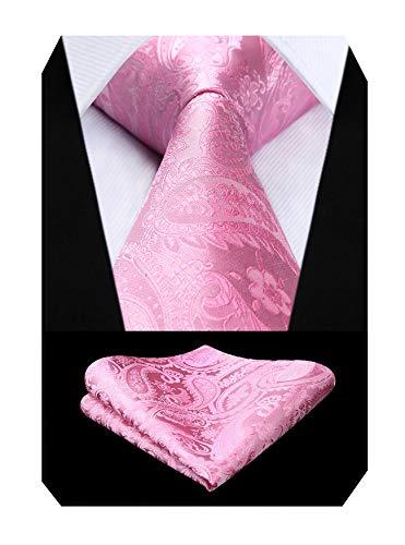 結婚式 ピンク ネクタイ チーフ セット メンズ シルク ブランド ペイズリー柄 ネクタイ フォーマル 礼服用 ...