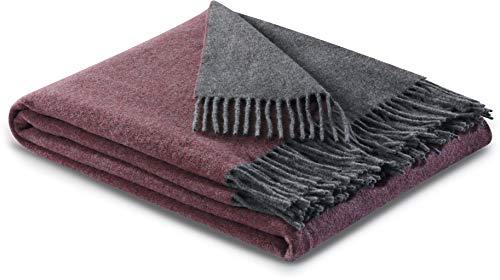 biederlack® samt weiche Kuschel-Decke Wool-Mix Rouge-Graphit I aus Wolle & Kaschmir I Öko-Tex Zertifiziert I Plaid in 130x170 cm | perfekt als Tagesdecke & Sofa-Decke | Wohn-Decke in top Qualität
