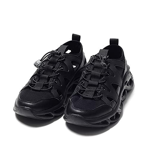 [シュベック] 結ばない 靴紐 スニーカー メンズ ブランド サンダル グルカ 軽量 メッシュ ローカット カジュアル 短靴 40(25.0cm) ブラック