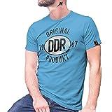 Original DDR Produkt 1967 Chruschtschow Plakette Broiler Siegel T Shirt #27448, Größe:S, Farbe:Hellblau