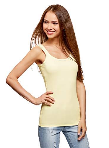 oodji Ultra Mujer Camiseta de Tirantes Básica, Amarillo, ES 38 / S