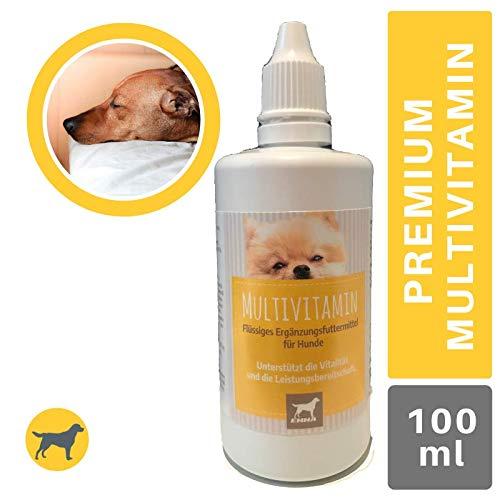 EMMA® Vitamine für Hunde I VIT B Komplex B1 B2 B6 B12 I Multivitamin A D3 E Mineralien I Folsäure Eisen Zink I Immunsystem stärken I Barf Vitamine I Alter Hund (Senior) Junge Welpen 100ml
