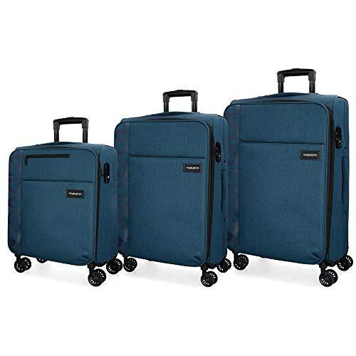 Movom Oslo Juego de maletas Azul 55/69/79 cms Blanda Poliéster Cierre TSA 199L 4 ruedas dobles Equipaje de Mano