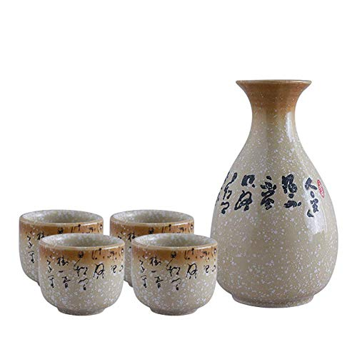 AABBC 5 Piece Sake Set, Sake Cup Set with Chinese Ancient Poetry, White Ceramic Cups, Quaint texture, for Cold/Warm/Shochu/Tea, Best Gift for Family and Friends