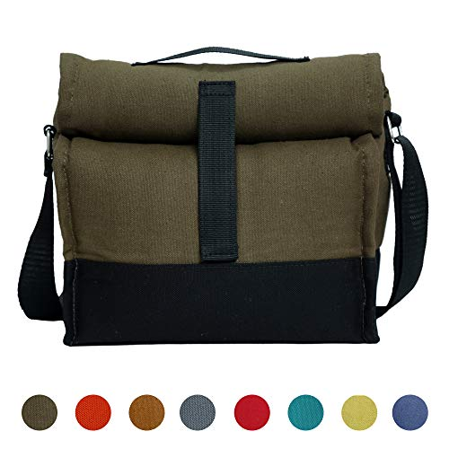 Marine Pearl Thermal Insulated Lunch Bag Premium Cotton Canvas Cooler Lunch Bag Reusable Lunch Bag for Men Women Kids Adjustable Shoulder Strap Lunch Box Bag for Work School(Military Green)